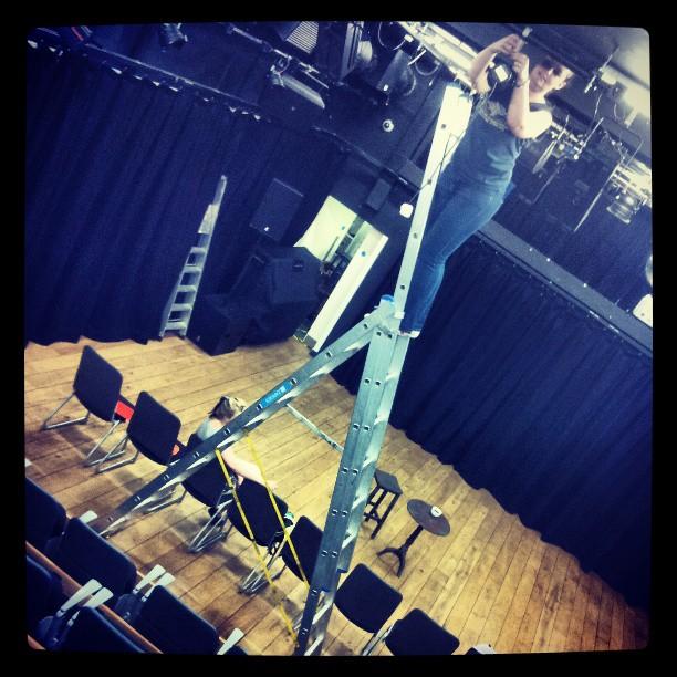 Gaffer up a ladder!